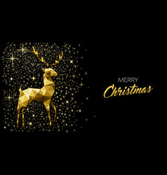 Christmas greeting card with gold glitter reindeer vector