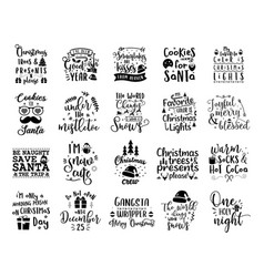 christmas lettering quotes set silhouette vector image