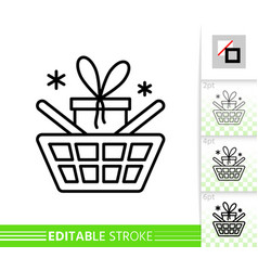 Christmas sale best buy gift box line icon vector