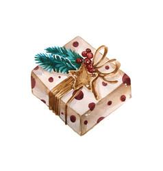 Christmas watercolor gift box box is vector
