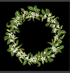 citrus branch line wreath with blooming flowers vector image