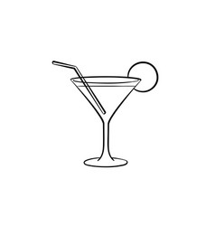 cocktail drink hand drawn sketch icon vector image