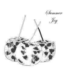 Coconut hand drawn sketch vintage style vector