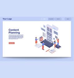 Content planning management landing page vector
