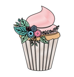 Crayon silhouette of hand drawing color cupcake vector