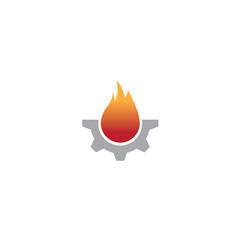 creative gear fire symbol for logo design vector image