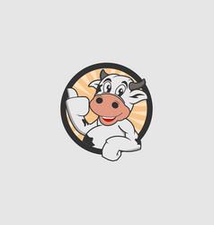 cute cow mascot emblem or badge logo template vector image