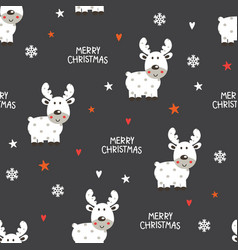 cute reindeer seamless pattern vector image