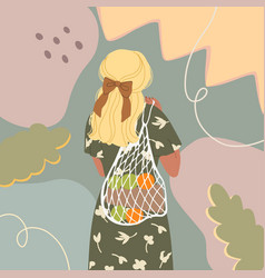 cute young girl with eco bag vector image