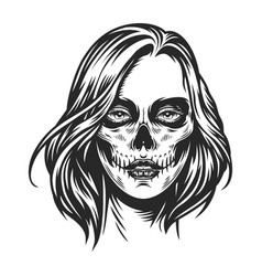 day dead makeup girl face vector image