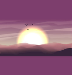 Desert panoramic landscape with dunes and sunset vector