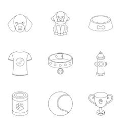 Dog equipment set icons in outline style Big vector