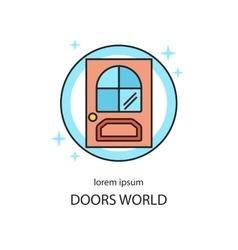 Door line icon logotype design templates vector image