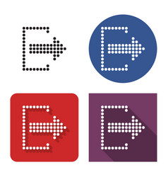 Dotted icon exit logout in four variants vector