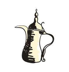 Eastern coffee pot hand drawn icon vector