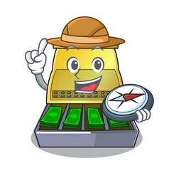 Explorer cash register with lcd display cartoon vector