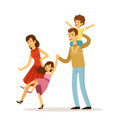 family playing happy children father and mother vector image