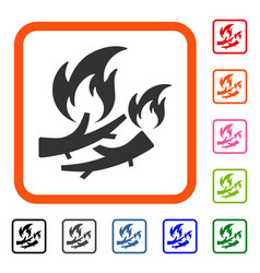 Firewood fire framed icon vector