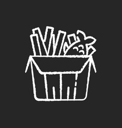 fish and chips chalk white icon on black vector image