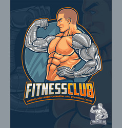 fitness club mascot and logo design vector image