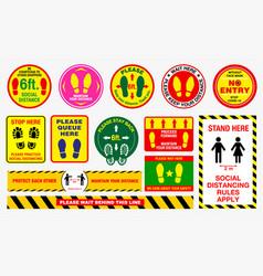 Floor social distancing stickers or public vector