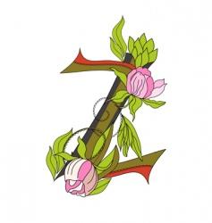 floral font 2 letter z vector image