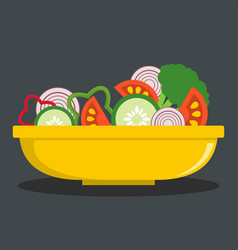 fresh salad icon flat style vector image