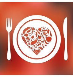 Fruits and vegetables heart in plate vector