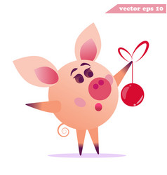 Funny amazing pig with christmas ball vector