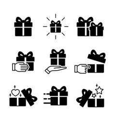 Gift box icons collection isolated on white image vector