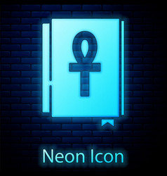 Glowing neon cross ankh book icon isolated vector