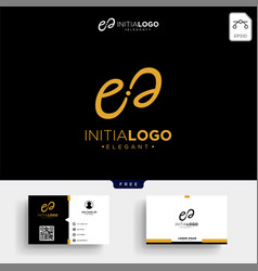Gold luxury initial e logo template and business vector