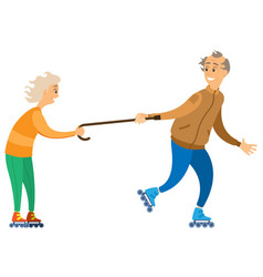 grandparents recreation on roller-skates vector image