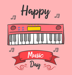 Greeting card music day celebration vector