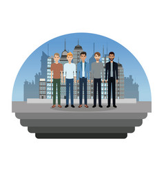 Group male fashionable building background vector