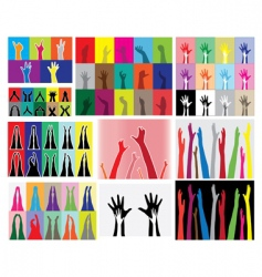 hands and legs silhouettes vector image