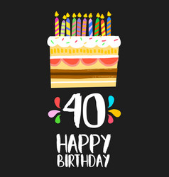 Happy birthday card 40 forty year cake vector