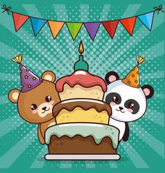Happy birthday card with cute bears vector