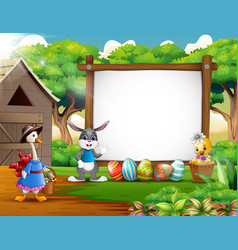 happy easter with wooden blank sign and many anima vector image