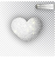 Heart silver glitter isoleted on transparent vector