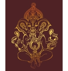 Hindu lord ganesha ornate gold sketch drawing vector