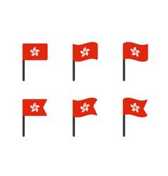 Hong kong flag icons set national flag vector