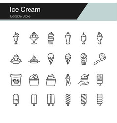 Ice cream icons modern line design vector