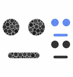 Indifferent smiley composition icon circle dots vector