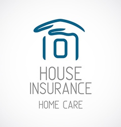 Insurance logo template Human hand covering house vector