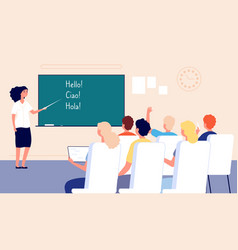 language lesson students at school classroom vector image