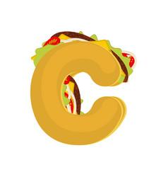 Letter c tacos mexican fast food font taco vector