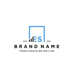 Letter es square logo finance design vector