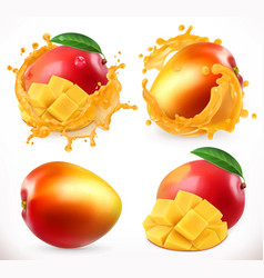 Mango juice fresh fruit 3d realistic icon vector
