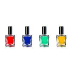 Nail polish bottles on white background vector